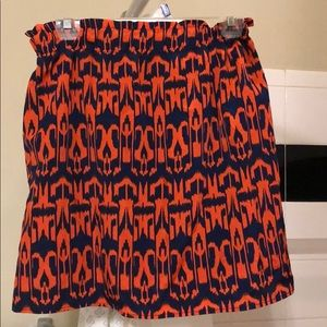 Patterned Navy/Burnt Orange Skirt